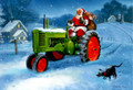 Leanin' Tree #C74601 Christmas Cards - Santa using Tractor for Deliveries (10-pk)