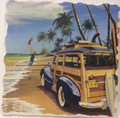 AromaStone Coaster - Classic Woody Station Wagon w/ Surf Boards