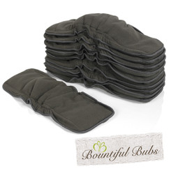 Charcoal Bamboo Boosters With Elastic - 6 layers x 10, Bountiful Bubs