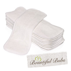 Nappy Inserts, Boosters, Bamboo x 10. 4 Layers - 1 Bm 3 Mf Bountiful Bubs