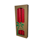 Aloha Bay Palm Tapers Red (4 Candles)