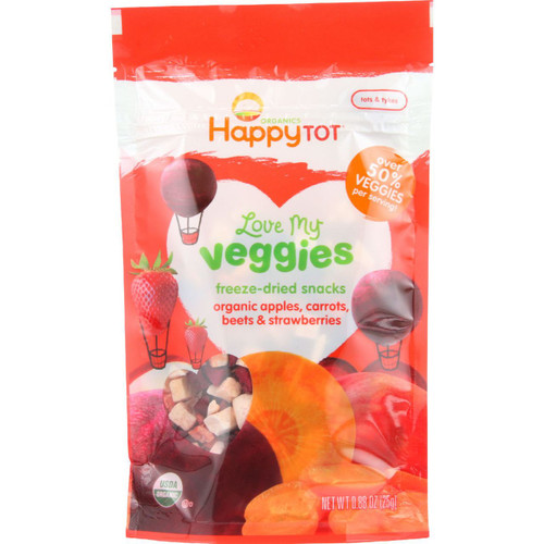 Happy Tot Toodler Food Organic Love My Veggies Freeze Dried Apples Carrots Beets and Strawberries .88 oz case of 8