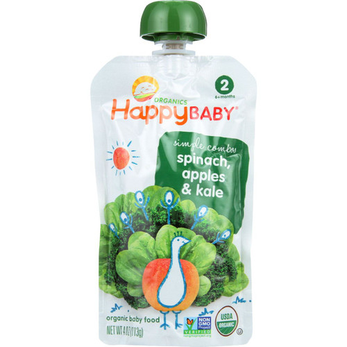 Happy Baby  Food Organic Simple Combos Stage 2 Spinach Apples and Kale 3.5 oz case of 16
