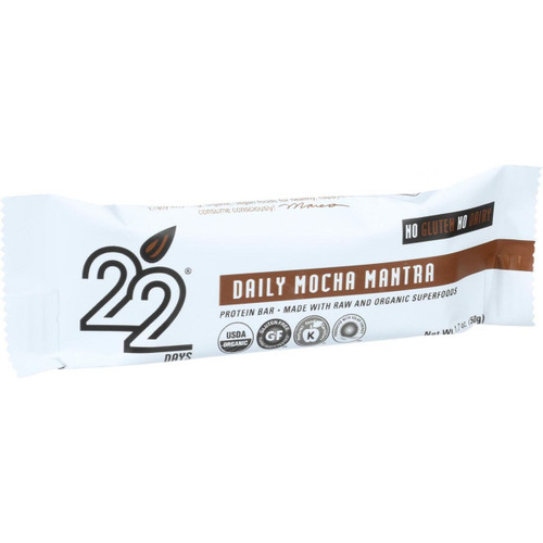 22 Days Nutrition Organic Protein Bar Daily Mocha Mantra Case of 12 1.7 oz Bars