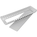 """Fat Daddio's Oblong Fluted Tart Pan, 13 3/4"""" x 4 1/4"""" x 1"""", removable bottom Box of 6"""