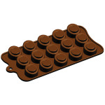 "Fat Daddio's Silicone Chocolate Mold, 9.13"" x 4.18"", Sloped Cylinder, 1.1"" dia x .71"" high, 15 pcs per mold"