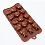 "Fat Daddio's Silicone Chocolate Mold, 9.13"" x 4.18"", Spring assortment, approx 1.22"" x 1.2"" x .71"", 4 designs, 15 pcs per mold"