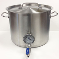 8 Gallon Stainless Steel Kettle with Tri-Clad Bottom & Weldled Ports for Valve & Thermometer (Cosmetic Damage)