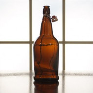 Flip Top Bottles Amber, 1 Liter --- Case/12
