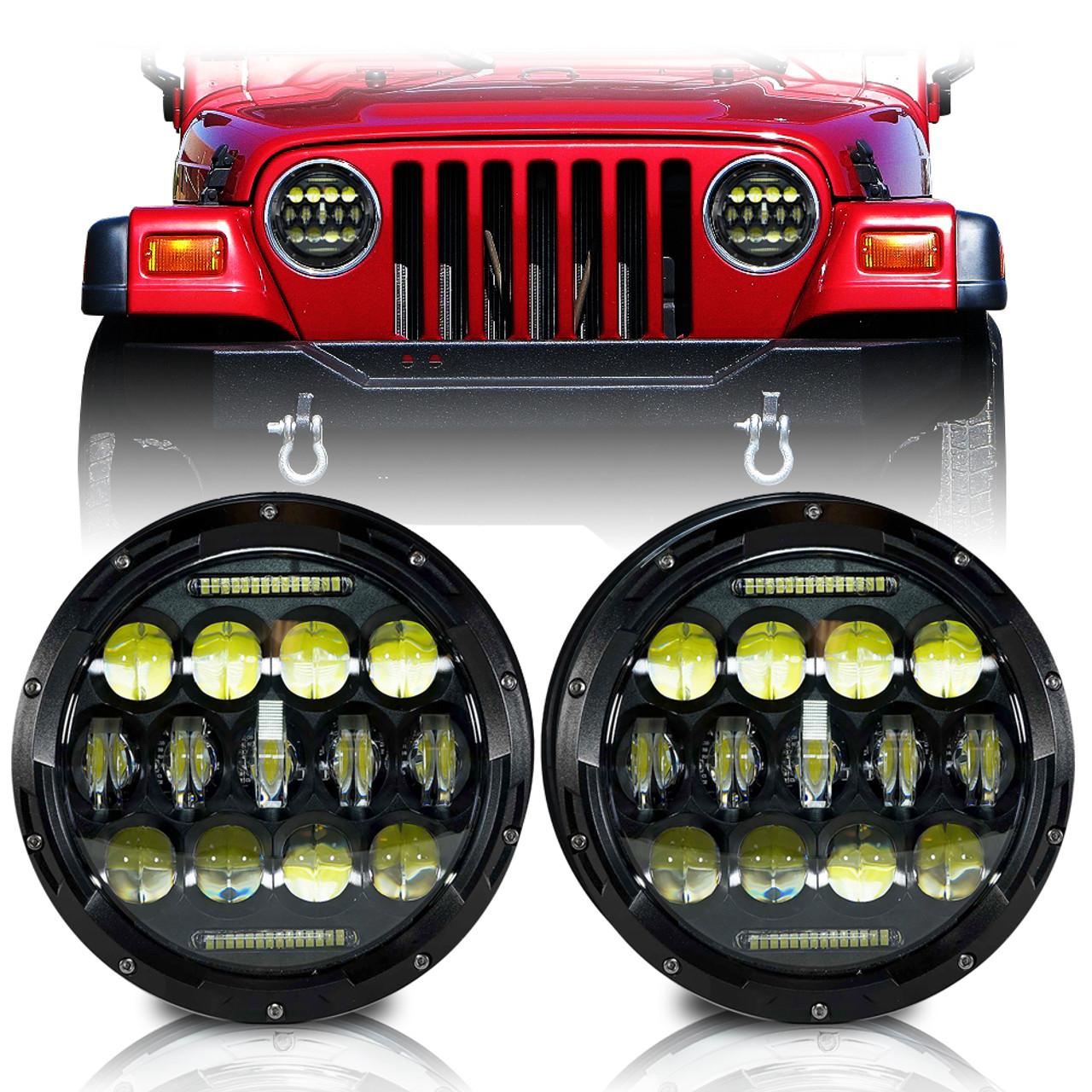 xpe honeycomb array black led headlights for wrangler 1996-2017