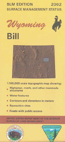 BLM 30' x 60' Surface Management Map of Bill, WY Quadrangle