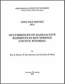 Occurrences of Radioactive Elements in Hot Springs County, Wyoming