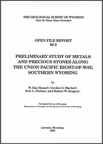 Preliminary Study of Metals and Precious Stones Along the Union Pacific Right-of-Way, Southern Wyoming (1992)