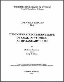 Demonstrated Reserve Base of Coal in Wyoming as of January 1, 1991 (1992)