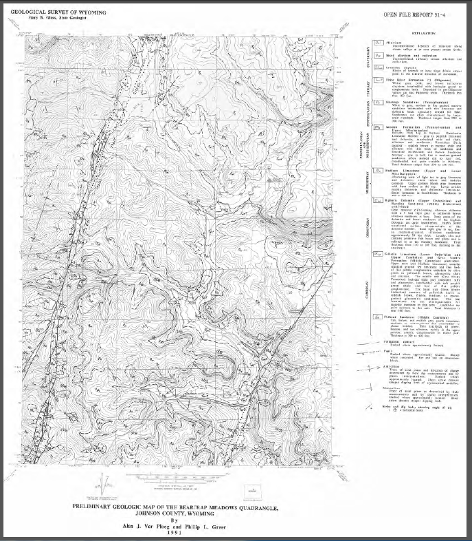 Preliminary Geologic Map Of The Beartrap Meadows