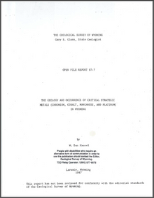 Geology and Occurrence of Critical Strategic Metals (Chromium, Cobalt, Manganese, and Platinum) in Wyoming (1987)