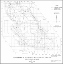 Isopachous Map of the Uppermost Cretaceous Lance Formation, Bighorn Basin, Wyoming (1986)