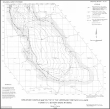 Structure Contour Map on Top of the Uppermost Cretaceous Lance Formation, Bighorn Basin, Wyoming (1986)