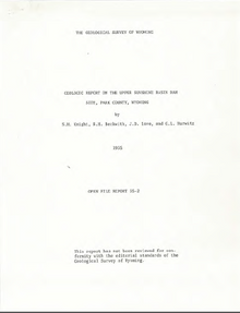 Geologic Report on the Upper Sunshine Basin Dam Site, Park County, Wyoming (1935)
