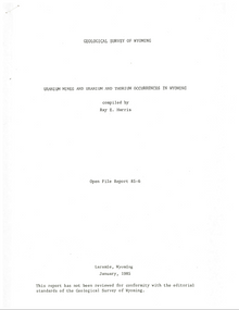 Uranium Mines and Uranium and Thorium Occurrences in Wyoming (1985)