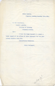 Brief Report of the Office of State Geologist (1910)