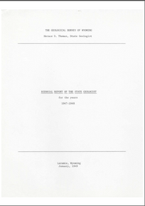 Biennial Report of the State Geologist (1947-1948) (1948)