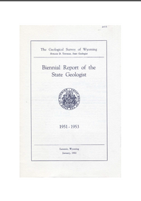 Biennial Report of the State Geologist (1951-1953) (1953)