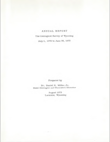 Annual Report of the Geological Survey of Wyoming (1972-1973) (1973)