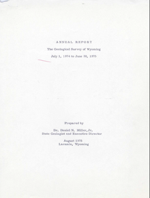 Annual Report of the Geological Survey of Wyoming (1974-1975) (1975)