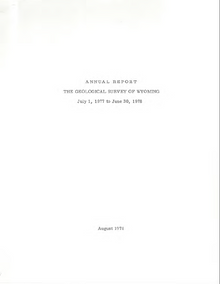 Annual Report of the Geological Survey of Wyoming (1977-1978) (1978)