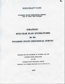 Five-Year Plan for the Geological Survey of Wyoming (FY 1993-FY 1997)
