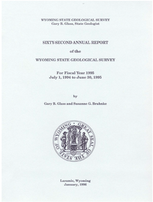 Sixty-Second Annual Report of the Wyoming State Geological Survey (1995)
