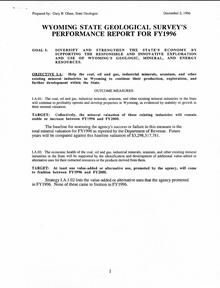 Stategic Plan Performance Report for FY 1996