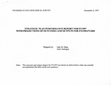 Stategic Plan Performance Report for FY1997 with Outcomes and Outputs for FY1998-FY2000 (1997)