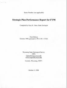 Stategic Plan Performance Report for FY1998 (1998)