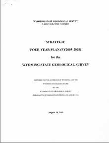 Strategic Four-Year Plan (FY 2005-FY 2008) for the Wyoming State Geological Survey