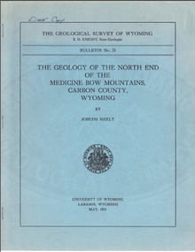 Geology of the North End of the Medicine Bow Mountains, Carbon County, Wyoming (1934)