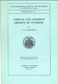 Asbestos and Chromite Deposits in Wyoming