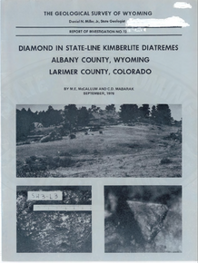 Diamond in State-Line Kimberlite Diatremes, Albany County, Wyoming, Larimer County, Colorado