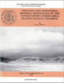 Geology and Industrial Mineral Resources of the Upper Patten Creek Area, Platte County, Wyoming