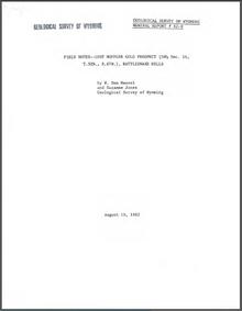 Field Notes—Lost Muffler Gold Prospect (SW1/4  Sec. 16, T. 32 N., R. 87 W.), Rattlesnake Hills (1982)