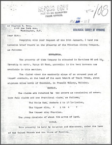 Brief Report on the Property of Riverton Mining Company on Copper Mountain, Fremont County, Wyoming (1909)