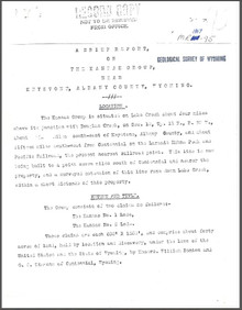 A Brief Report on the Kansas Group near Keystone, Albany County, Wyoming