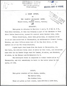 A Brief Report on the McGowen-LeClaire Group near Willow Creek, Fremont County, Wyoming (1907)
