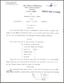 Brief Report on Colorado Belle Group near Encampment, Carbon County, Wyoming (1906)