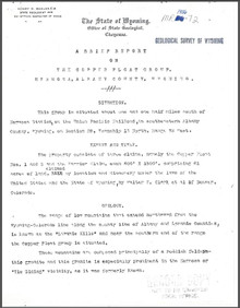 Brief Report on the Copper Float Group Hermosa, Albany County, Wyoming (1906)