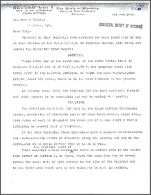 Brief Report on the Inez Coal Lands, Converse County, Wyoming