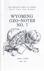 Wyoming Geo-Notes—Number 7 (1985)