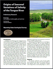 Origins of Seasonal Variations of Salinity of the Tongue River: Preliminary Research (2011)