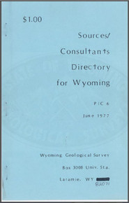Sources/Consultants Directory for Wyoming (1977)